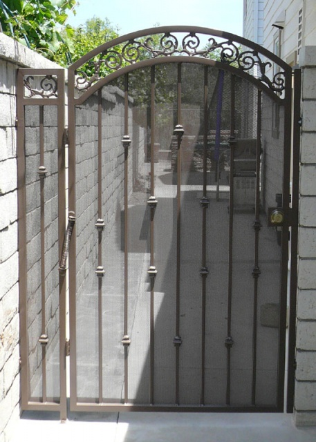 Iron gates with screen and sheet metal black hawk